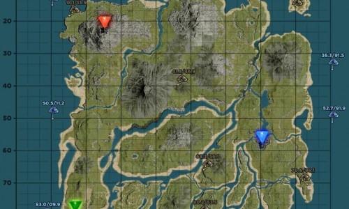 Карта и координаты поверхностных пещер Caves